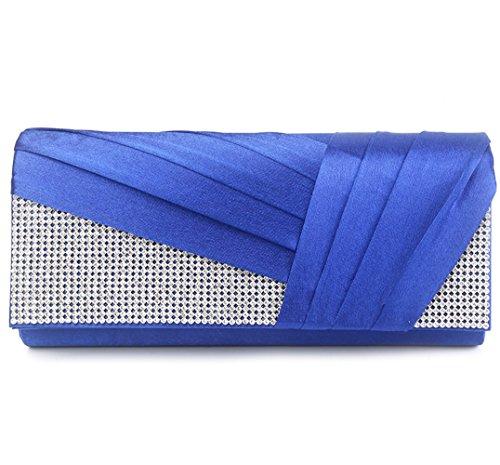 (U-Story Womens Satin Pleated Evening Clutch Rhinestone Wedding Prom Purse Handbag (Royal Blue))