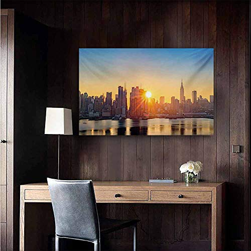 duommhome City Living Room Decorative Painting Tranquil Sunrise at Midtown Manhattan United States NYC Waterfront America Modern Minimalist Atmosphere 47