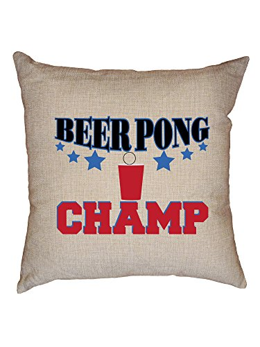 Hollywood Thread Beer Pong Champ - Iconic Drinking Game Colorful Decorative Linen Throw Cushion Pillow Case with Insert ()