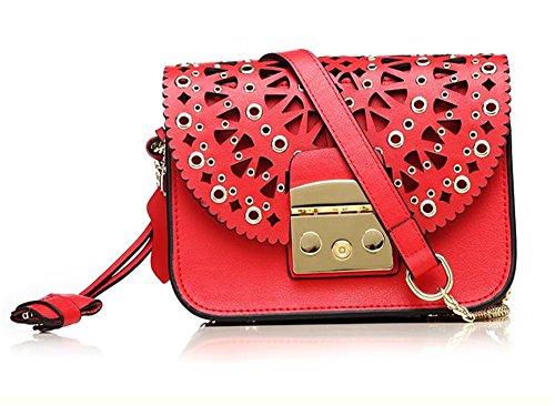 La mujer Xinmaoyuan bolsos de cuero auténtico Bolso femenino Hollow Carved cadena Small Paquete Cuadrado hombro Paquete Diagonal,verde Rojo