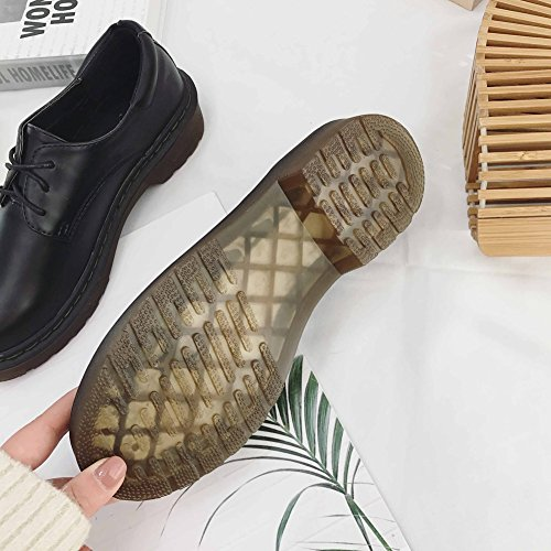 T-JULY Womens Retro Oxfords Shoes - Comfy Mid-Heel Lace-up Round Toe Two Tone Casual Shoes Black Un3Cin