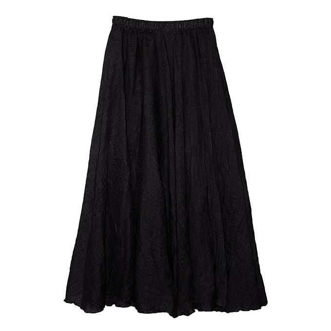 ZORE Vestidos de Estilo Bohemio para Mujer Cintura elástica Algodón de Lino Vestido Largo de Falda Larga