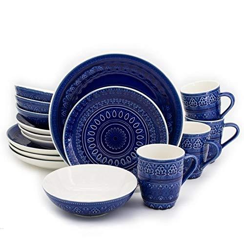llection 16 Piece Ceramic Reactive Crackleglaze Dinnerware Set, Service for 4, Teardrop Mandala Design, Blue ()