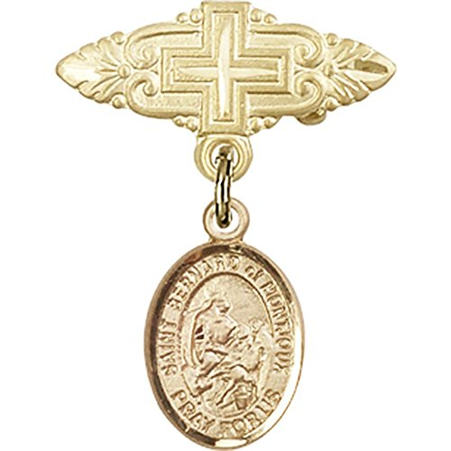 14kt Yellow Gold Baby Badge with St. Bernard of Montjoux Charm and Badge Pin with Cross 1 X 3/4 inches