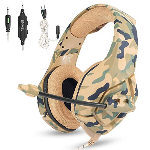 Gaming Headset with Mic for PS4 Xbox One Controller,Noise Cancelling Over Ear Headphones with Microphone,Bass Surround,Skin-Friendly Earmuffs for Laptop PC Mac iPad and Smart Phones -3.5mm Camouflage (Pc Headset To 3-5 Mm Smartphone Adapter)