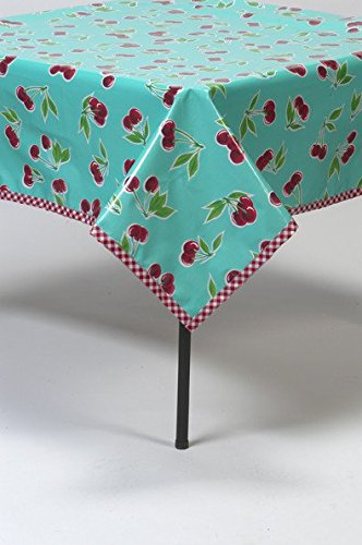 Freckled Sage Cherry Aqua Oilcloth Tablecloth with Red Gingham Trim You Pick The -