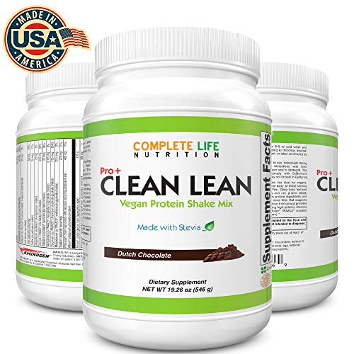 Clean Lean Low Carb Meal Replacement Shake - B Vitamin Packed - Vegan Pea Protein - Paleo with No Artificial Sweeteners (Dutch Chocolate - -