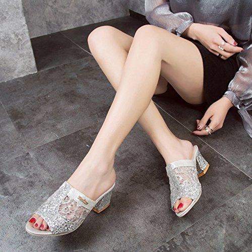 women slippers Slip Fish silvery Thick With Mouth High Heels Girl With Mother Leisure Breathable Thick Summer WHLShoes Wild d5qTwnF5