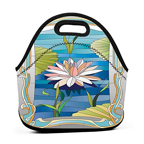 Travel Case Lunchbox with Zip Art Nouveau,Lotus on the Water Baroque Avant Garde Stylized Classic Architecture Pattern,Multicolor,kindergarten backpack and lunch bag for girls (Zip Nouveau Back)