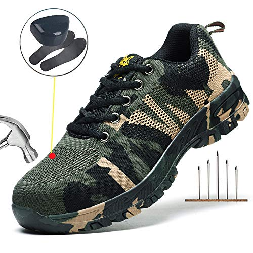 Escort Runners Steel Toe Shoes Men Non Slip Work Safety Shoes Breathable Industrial Construction Shoes Outdoor Hiking Shoes EAAQX01-W2-46 Camouflage Green ()