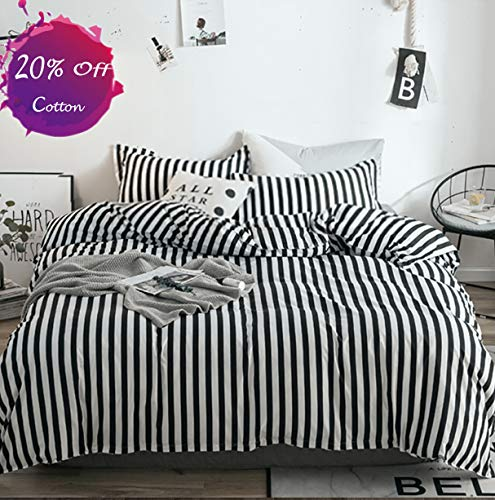 Halloween Bedding Sets Store (karever Black White Striped Duvet Cover Set Queen Kids Cotton Bedding Full Black Vertical Ticking Stripes Pattern Printed on White Comforter Cover Set for Boys Girls)