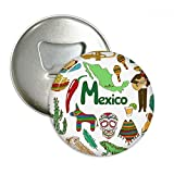 Mexico Landscap Animals National Flag Round Bottle Opener Refrigerator Magnet Pins Badge Button Gift 3pcs
