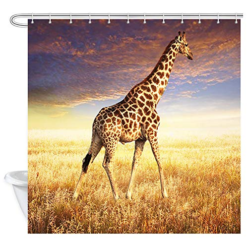 DYNH Giraffe Shower Curtain for Bathroom, African Wildl on Nature Autumn Prairie is Hunting Shower Curtains, Waterproof Fabric Bath Curtain 12PCS Hooks, 69X70 in