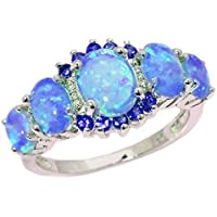 Charming Lady 925 Sterling Silver Blue Fire Opal Rings Charm Jewelry (6)