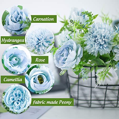 Johouse Artificial Flowers, 4PCS Light Blue Fake Peony Silk Hydrangea Rose Bouquet Decor Plastic Carnations Realistic Flower Arrangements Wedding Decoration Table Centerpieces
