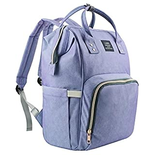 Diaper Bag Backpack, Waterproof Diaper Bag Large Capacity Mommy Diaper Backpack Baby Nappy Bags with Multi-Function, Durable and Stylish (Blue&Purple)