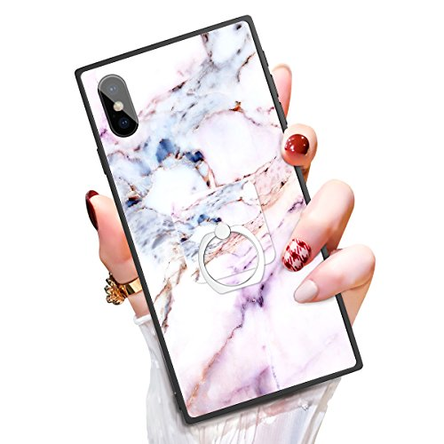 iPhone X Case Kickstand Case for iPhone 10 Someseed iPhone X Phone Case with Ring Holder Duty Shock Absorbent PC TPU Full Body Drop Resistant Protection Modern Design Pink Marble Cover for iPhone X