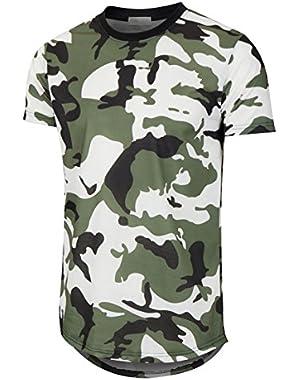 Mens Hipster Hip Hop Elong Round Hemline Crewneck Camouflage T-Shirt