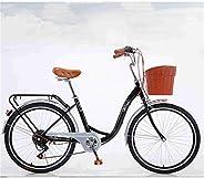 Polandee Classic Bicycle, Beach Cruiser Bicycle 24/26 Inch 7 Speed,Retro Bike Comfortable Bicycle, Cruiser Bic
