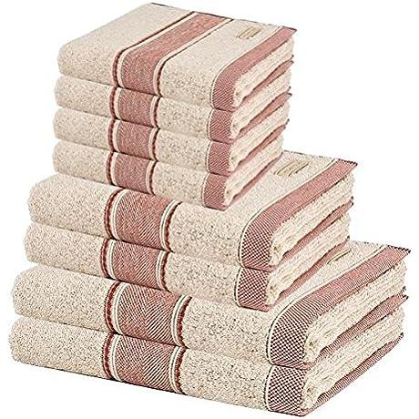 MV 8 Pcs Premium Cotton Towel Set 2 Bath Towels 2 Hand Towels And 4 Washcloths
