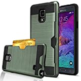 Note 4 Case, Galaxy Note 4 Wallet Case, Jwest [Card Slot] Shock Absorbent Armor Hybrid Defender Brushed Metal Texture Shockproof Protective Wallet Cover Case For Samsung Galaxy Note 4 - Army Green