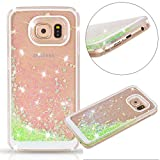 Samsung Galaxy S7 Edge case,Crosstree Liquid, Appmax Cool Quicksand Moving Stars Bling Glitter Floating Dynamic Flowing Case Liquid Cover for galaxy s7 edge. (Heart Green)
