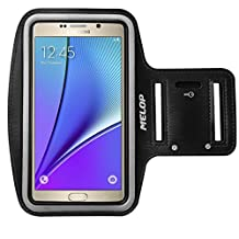 "MELOP Armband (5.7"") for Samsung Galaxy Note 5 Note 4 Note 3 Note II Note Edge, J3 J3V J7, LG K7 K10 G5 SE, Soft Sweat Resistant Sports Gym Arm Band with Key Holder and Card / Cash Pocket - Black"