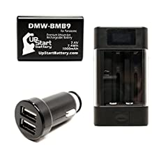 Panasonic Lumix DMC-FZ72 Battery with Universal Charger and Dual USB Car Charger - Replacement Panasonic DMW-BMB9 Digital Camera Battery and Charger