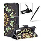 Wallet Leather Case for Samsung Galaxy Note 10,Flip Case for Samsung Galaxy Note 10,Herzzer Stylish Premium Blue Butterflies Printed Magnetic Stand PU Leather with Inner Soft Rubber Case