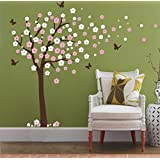 Huge Cherry Blossom Tree Blowing in the Wind Wall Decals Nursery Tree Flowers Butterfly Art Baby Kids Room Wall Sticker Wall Décor
