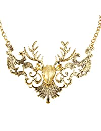 Ever Faith Gold-Tone Vintage Style Christmas Reindeer Statement Necklace Golden Color N00590-1