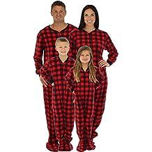 SleepytimePjs Family Matching Red Plaid Fleece Onesie PJs Footed Pyjama