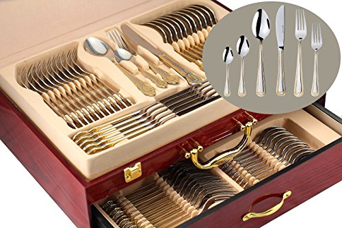 "75-Piece Gold Flatware Set Dining Service for 12, 18/10 Premium Stainless Steel, 24K Gold-Plated Trim, Silverware Serving Set, Wood Storage Case (""Madison"")"