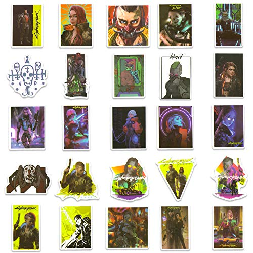 50PCs Cyberpunk Game Stickers, Vinyl Waterproof Game Stickers for Laptop Phone Water Bottle Luggage Case Computer Hydro Flask Snowboard Gifts for Adult Teens Kids