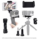 Dual Mount for GoPro Hero with Tripod Adapter and Universal Phone Holder - Record Videos with 2 Different Camera Angles Simultaneously, Steady Shot Photography, Selfies