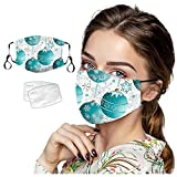 Reusable Facemask with Filter, Safety Cotton Face with 2pcs Filters, Washable Face Bandana with Replaceable Filters Haze Dust Protection Face Health for Christmas