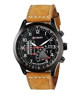 Kairos Hinayat Fashion Brown Leather Analogue Black Dial Watch