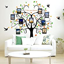 Huge Family Tree Photo Frame Wall Decals Removable Wall Decor Decorative Painting Supplies & Wall Treatments Stickers Living Room Bedroom (Green Tree)