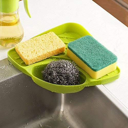 Zollyss Plastic Multipurpose Storage Organizer Corner Tray for Kitchen Sink Wash Basin (Multicolor, Standard)