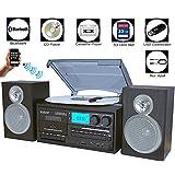 boytone bt-28sbs, Bluetooth estilo clásico Record Jugador Turntable con radio AM/FM, Cassette Player, reproductor de CD, 2Bocinas estéreo separadas, graba, radio, Cassette de vinilo a MP3, ranura SD, USB, AUX)