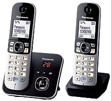 Panasonic KX-TG6822 - Teléfono inalámbrico DECT, con 2 microteléfonos, color negro [Importado de Francia] [versión importada]