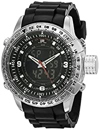 U.S. Polo Assn. Men's Analog-Digital Dial Rubber Strap Watch Black US9047