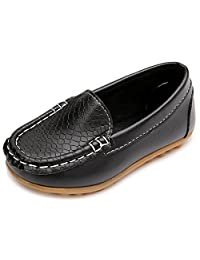 iLory Boy's Girl's Casual Leather Slip-on Loafers Oxford Flat Boat Shoes Toddler Shoes