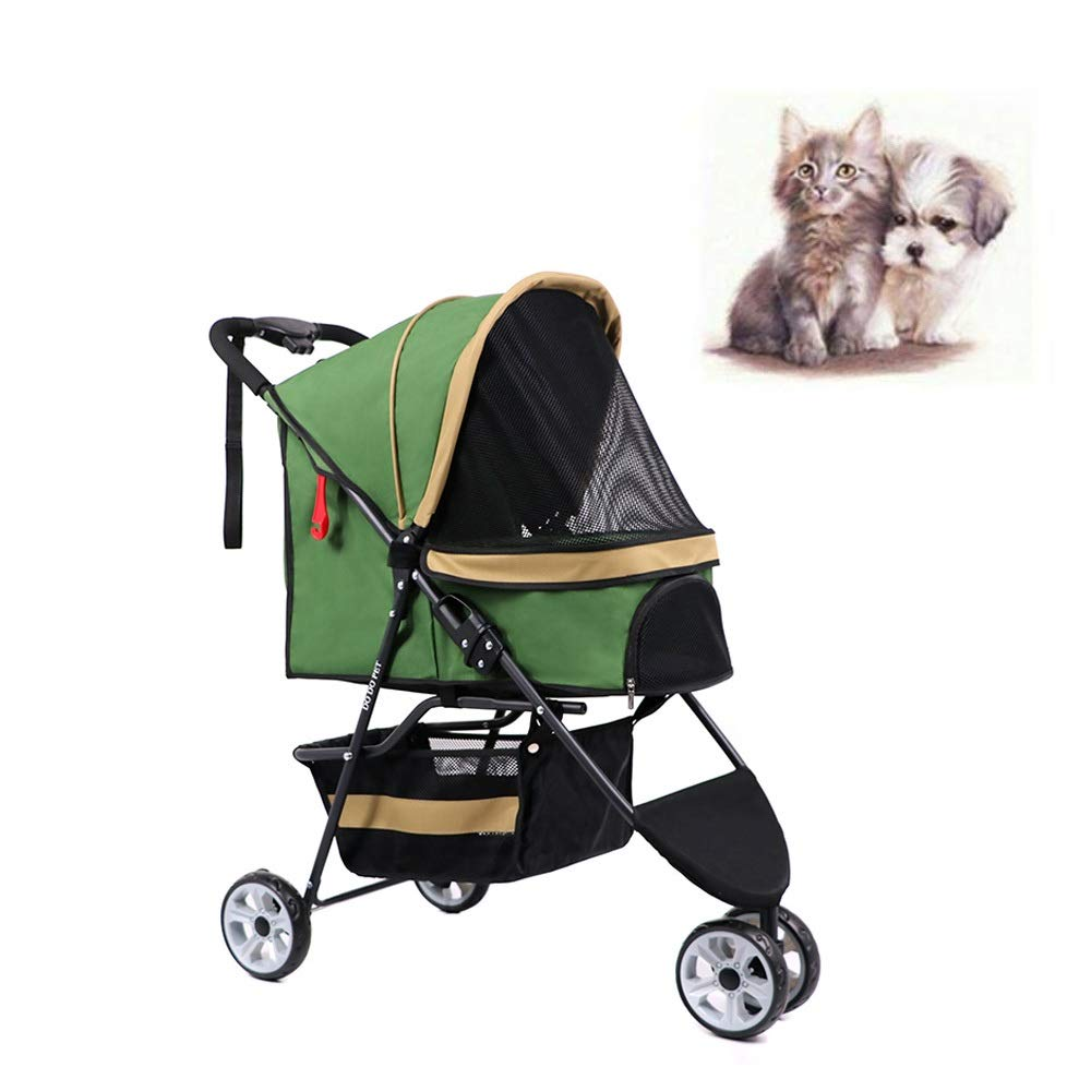 Folding Three Wheel Pet Carrier Stroller Cart for Cats and Dogs