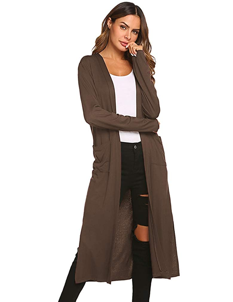 Dark Brown 2 Locryz Women's Long Open Front Maxi Duster Long Sleeve Lightweight Cardigans