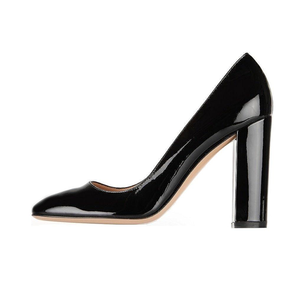 Soireelady - Scarpe da donna - Tacco a Blocco - 10CM - Scarpe col Tacco  Nero