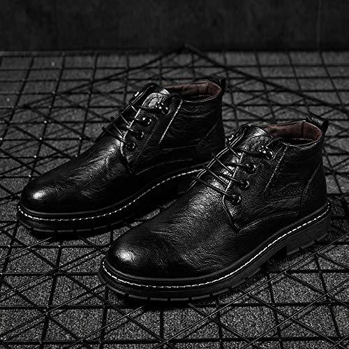 LOVDRAM Stiefel Männer Herbst Und Winter Herren Retro Mode Freizeitschuhe Mode Hoch Um Männer Schuhe Warme Jugend Große Schuhe Zu Helfen