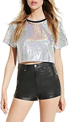 Haoduoyi Womens Silver Holographic Sequin Hooded Bomber Jacket/ Crop T Shirt