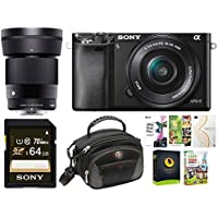 Sony Alpha a6000 Mirrorless Camera w/ 16-50mm, 30mm f/1.4 Lens Bundle