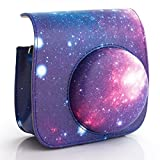 [Fujifilm Instax Mini 8 Classic Camera Case Series]—WOODMIN Exclusive Starry Sky Galaxy PU Leather Protective Fuji Camera Case with Shoulder Strap for Instax Mini 8 Camera (Blue)